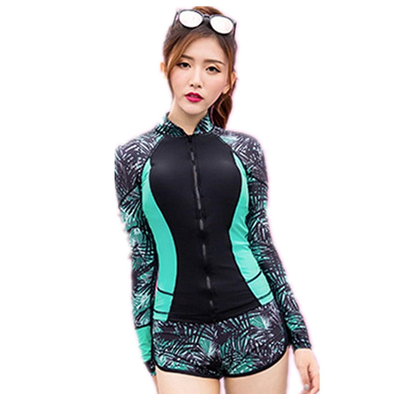 女性の水着日焼け止めの長袖スプリット3ピーススーツ水着ズボンフローティングダイビングスーツウォータースポーツに適したスポーツスパ B07F18GDTC L