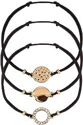 SIX 3er Set Damen Armschmuck, Armbänder, Armketten, Textil, Anhänger, Kreis, Plättchen, schwarz, goldfarben (748-744)