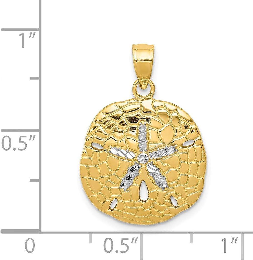 Black Bow Jewelry 14k Yellow Gold Small Diamond Cut Sand Dollar Pendant
