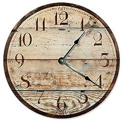 RUSTIC WOOD CLOCK Large 10.5 Wall Clock Decorative Round Novelty Clock PRINTED WOOD IMAGE Beach Wood Clock