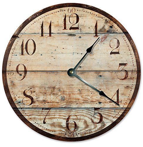 "RUSTIC WOOD CLOCK Large 10.5"" Wall Clock Decorative Round No"