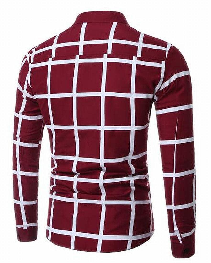 shinianlaile Mens Fashion Cotton Plaid Long Sleeve Button Down Dress Shirt