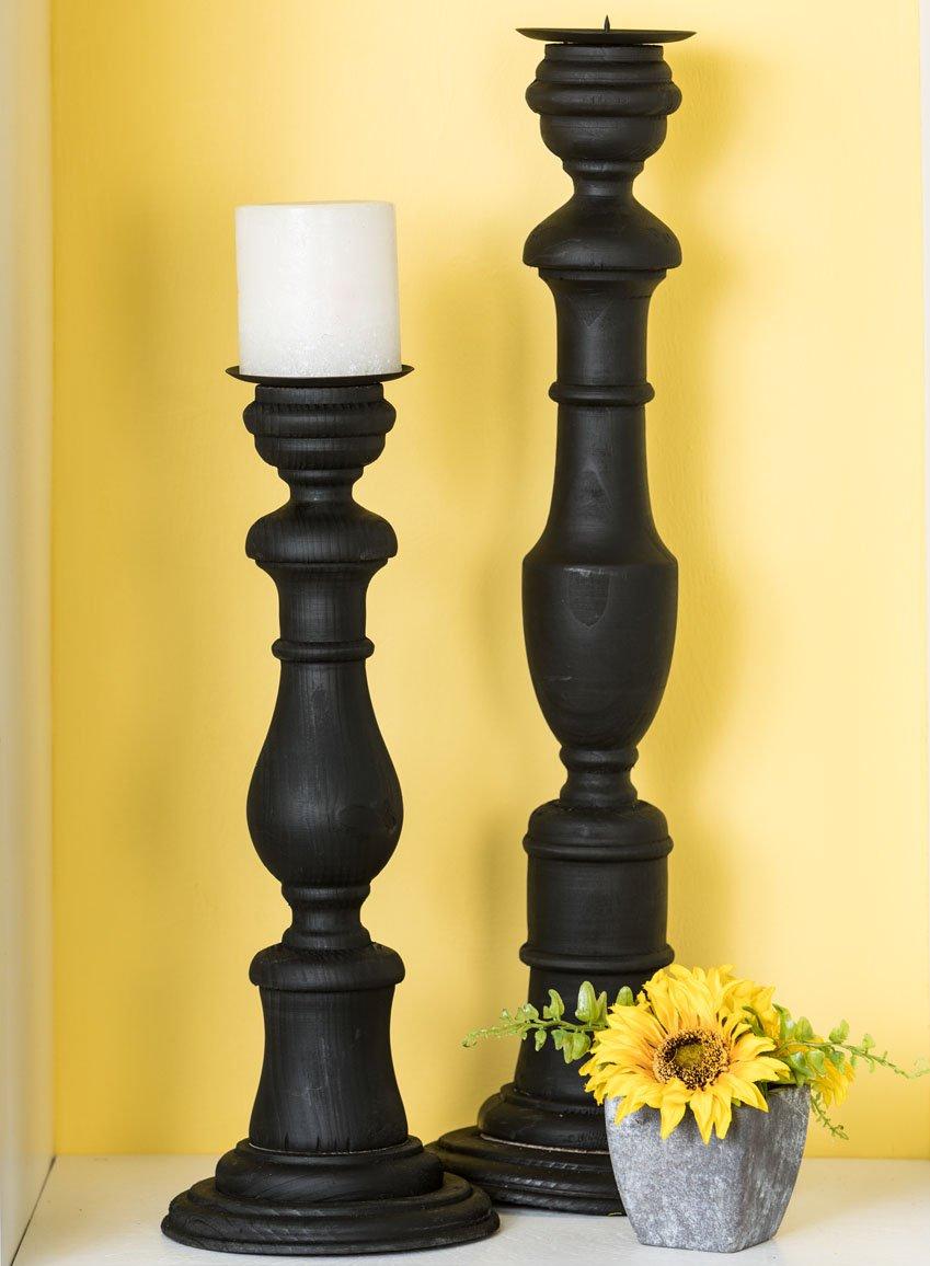 Amazon.com: Sullivans Tall Wood Pillar Candle Stick Holders (Set of ...