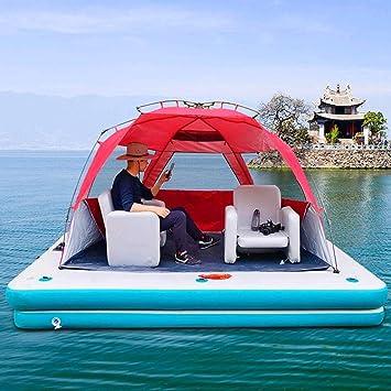 SHJR Flotante Isla Balsa | Balsa de Pesca | Hinchables Colchonetas | Flotador de Piscina Inflable