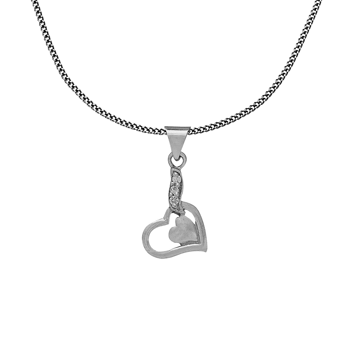 Buy Valentine Day Jewellery Charm Pendant Heart Necklace Silver
