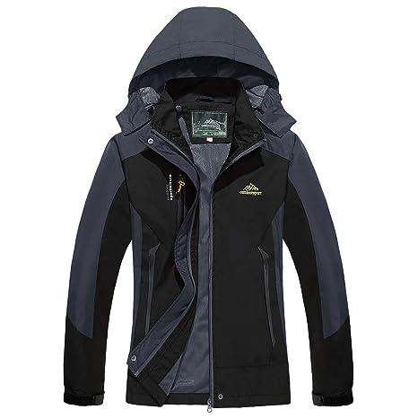 cf6cc653db1 TACVASEN Women's Convertible Hooded Sportswear Lightweight Waterproof  Softshell Jacket Raincoat Black,US XS