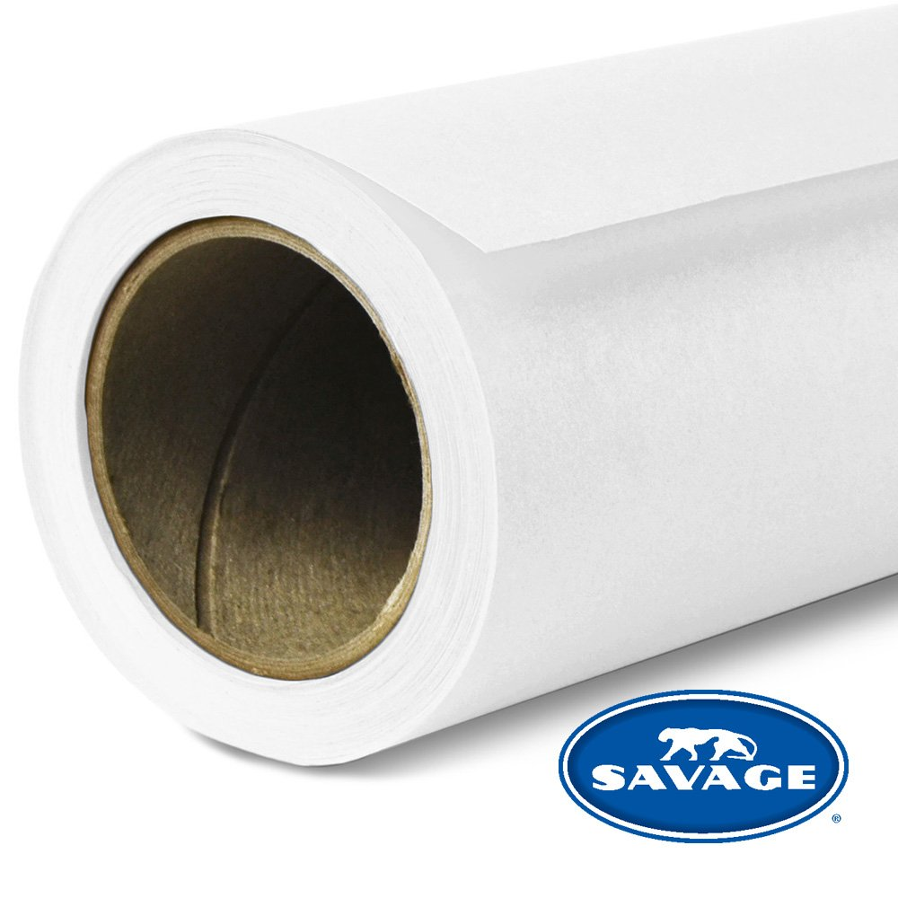 Savage 107X12-1 Seamless Background Paper, 107-Inch x 12 Yards - Super White by Savage