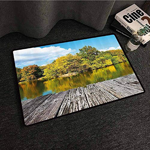 (Landscape Welcome Door mat New York City Central Park in a Autumn Day Near a Bay with River Breathability W35 xL47 Sky Blue Green and Cocoa)