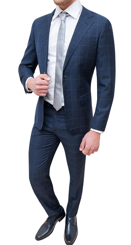 Evoga Abito Completo Uomo Sartoriale Blu Quadri Smoking Vestito Elegante Cerimonia