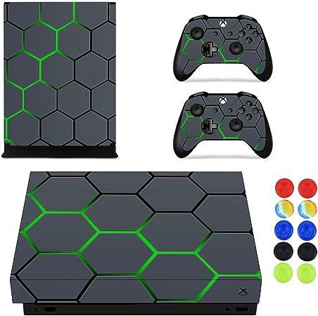 Xbox One X Pegatina Decals Morbuy Skin Adhesivo de Vinilo Stickers Cover Estilo Personalidad de la Moda Protector Console and 2 Controllers+ 10pc Silicona Thumb Grips (Tela escocesa negra): Amazon.es: Hogar