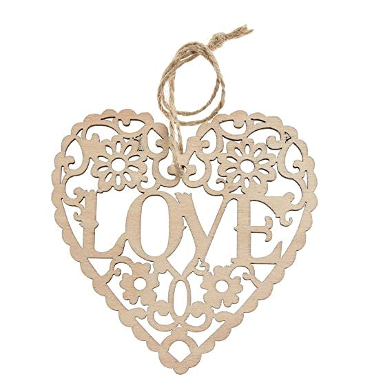 10x Vintage Herz Hängedeko Dekohänger Holzanhänger für Hochzeit Party und Zimmer