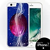 Sticker Skin Print Purple Ball Inspirational Waves Stars Printed Design  White Silicone Case for iPhone 7+ (5.5) by Smarter Designs