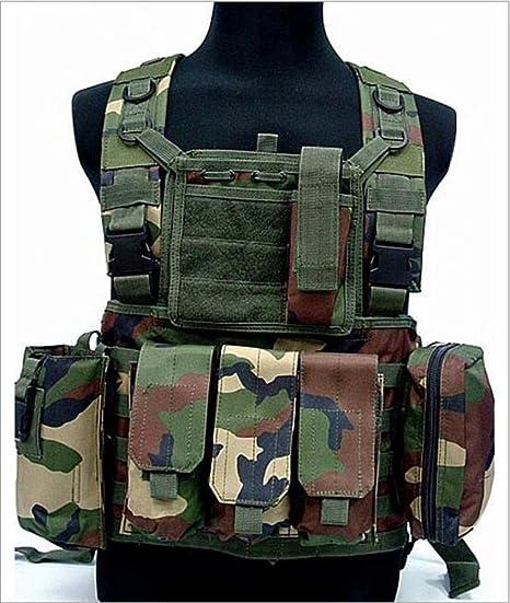 #1 Chaleco de Polic/ía Chaleco T/áctico Militar al Aire Libre Juego de Guerra Airsoft Caza Tank Vest Molle Chaleco Combate Asalto Placa Camuflaje Chaleco de Portador para Camping Viaje Hiking