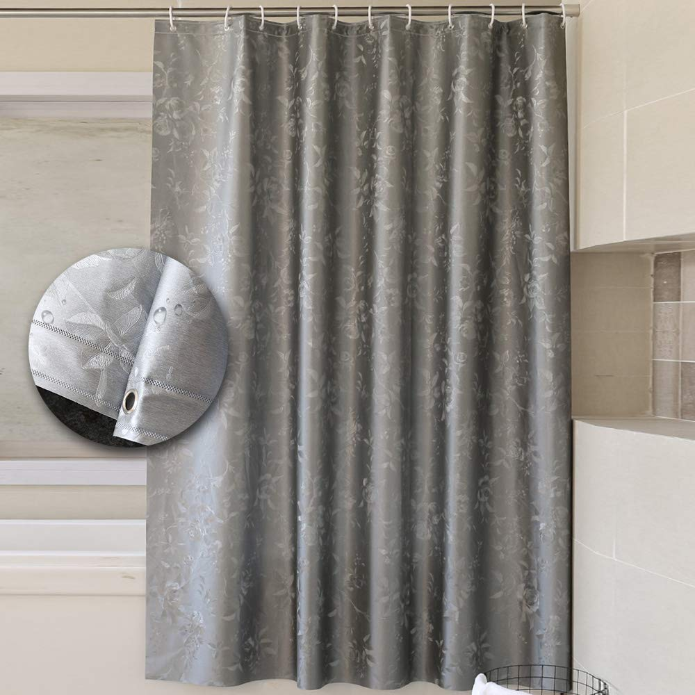 Yuclock EVA Bathroom Waterproof Thickening Anti-Moist Shower Curtain Partition Curtain, Gray Flower, 200X180cm, Include Hook