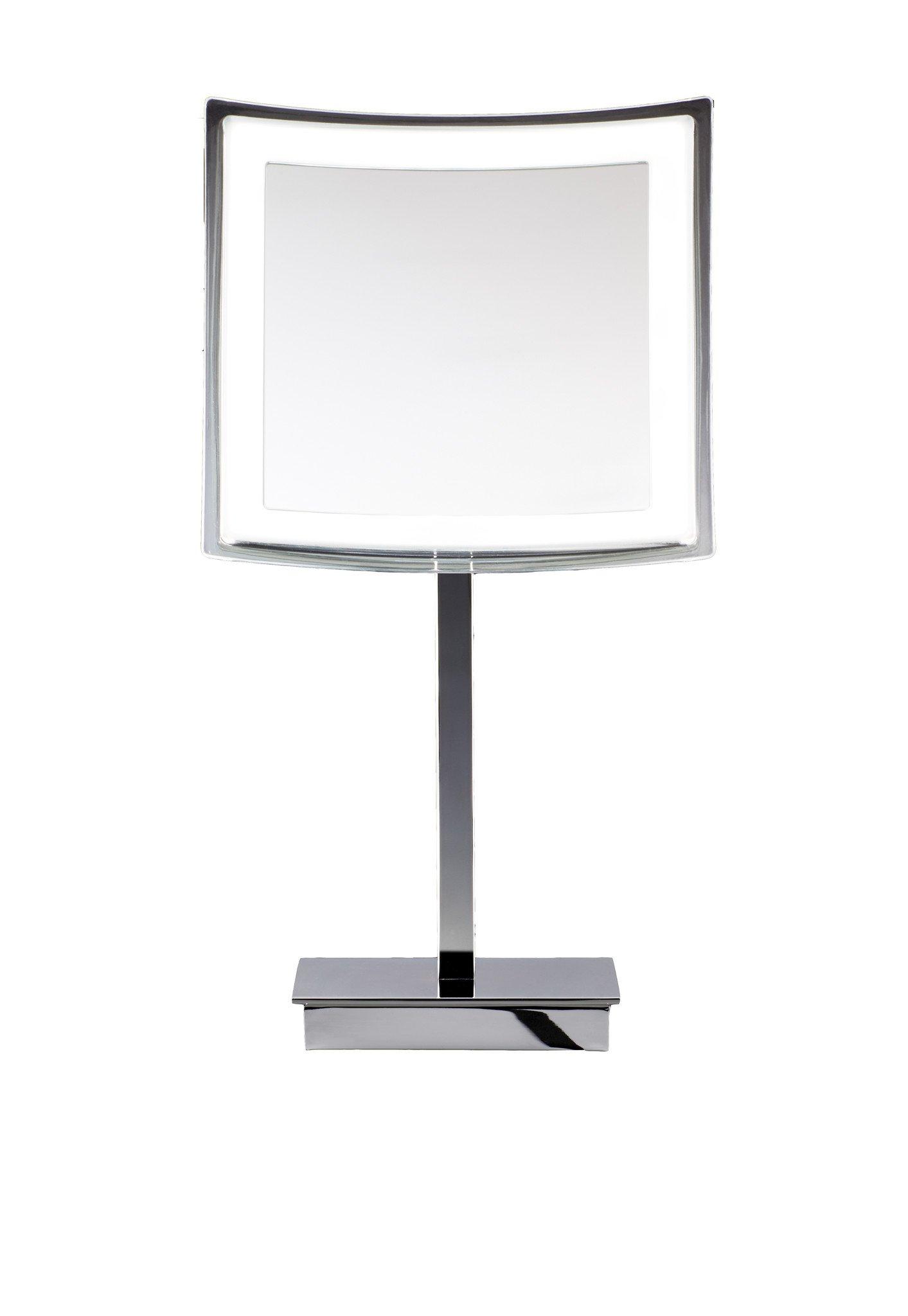 DWBA Square Cosmetic Makeup 5x LED Light Magnifying Table Mirror. Chrome
