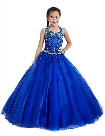 Fille Princess Robe De Mariage sans Manches Fleur Paillettes Robe  Demoiselle d honneur Costume De 36c3090891e6