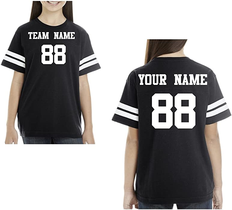 67148fe4 Amazon.com: Youth Custom Unisex Football Cotton Jersey T-Shirt, Personalize  You own Teen t Shirt: Clothing