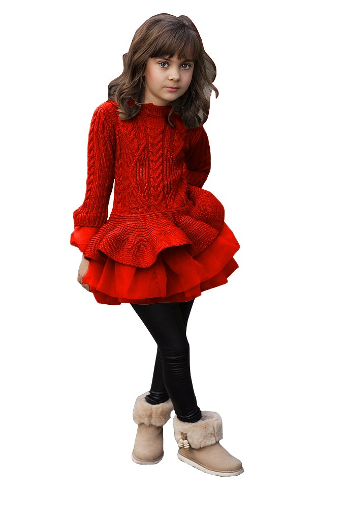 Imily Bela Little Girls Sweater Ruffle Tutu Lace Dress Long Sleeve Cute Kids Jumper Tops XS-XL