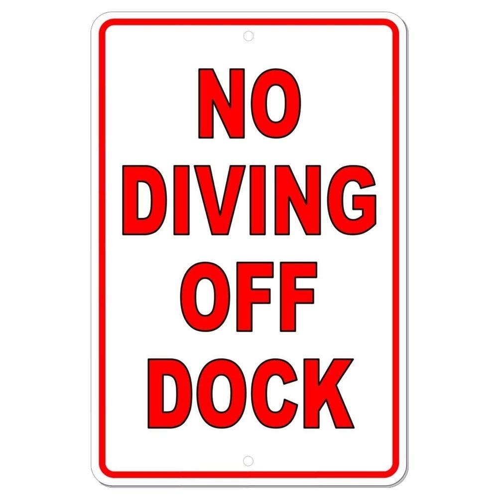 No Diving Off of Dock Metal Sign Warning Swimming Lake 8'' X 12'' Red Vintage Metallic Finish by Unknown