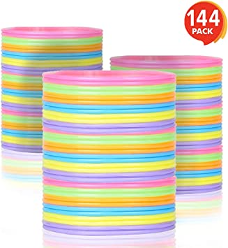 80/'s Party Decorations Goodie Bag Fillers ArtCreativity Jelly Bracelets for Kids and Adults Fun Birthday Favors   Colorful Stretchy Rubber Wristbands for Boys and Girls 144 Pack