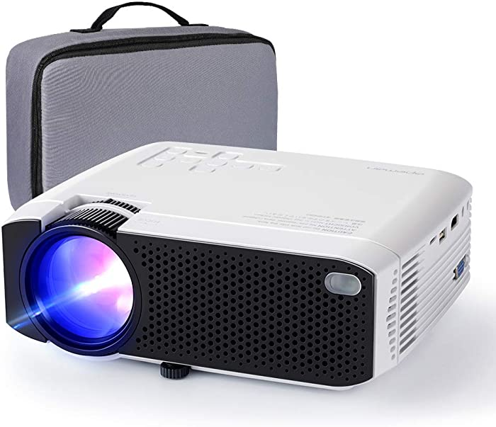 """Projector APEMAN Mini Portable Projector 180"""" Display and 1080P Supported 45000 Hrs Low Noise Dual Speakers HDMI/VGA/USB/Laptop/TV Box/PS3/4 Chromecast Compatible for Home Cinema[Carry Case Included]"""