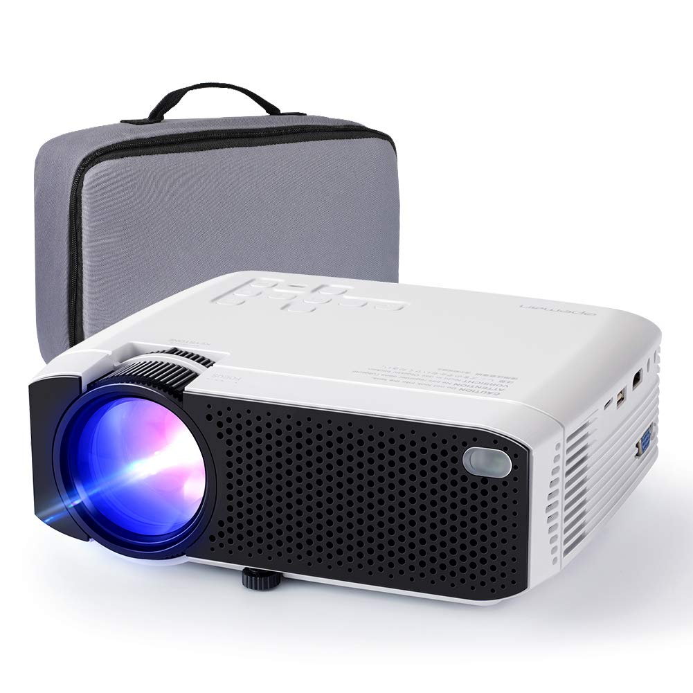 Projector APEMAN Mini Portable Projector 180'' Display and 1080P Supported 45000 Hrs Low Noise Dual Speakers HDMI/VGA/USB/Laptop/TV Box/PS3/4 Chromecast Compatible for Home Cinema[Carry Case Included] by APEMAN