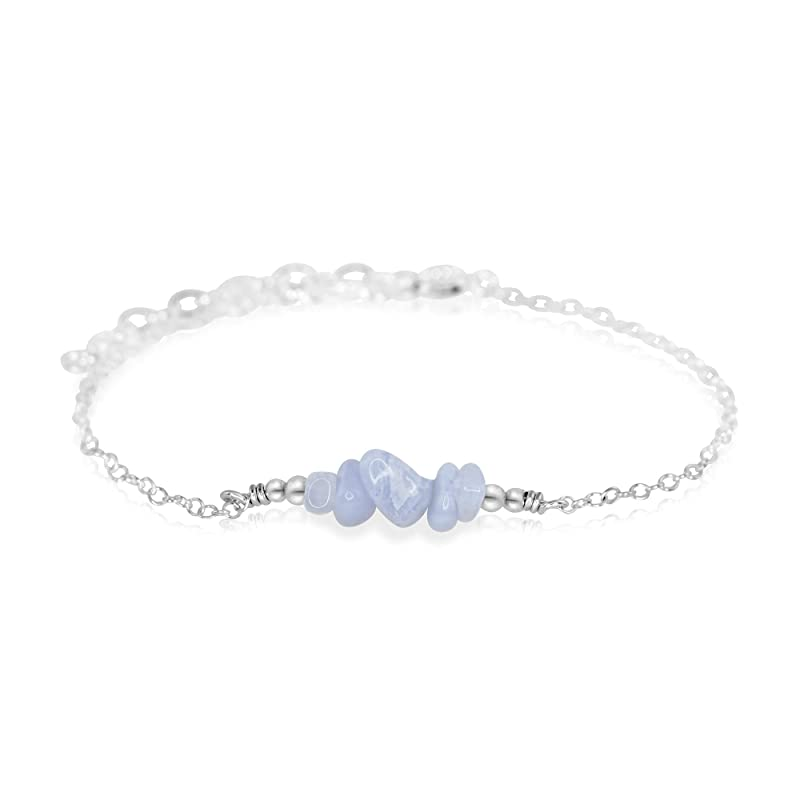 Anklet with Turquoise Chips and Silver Nuggets Sterling Silver