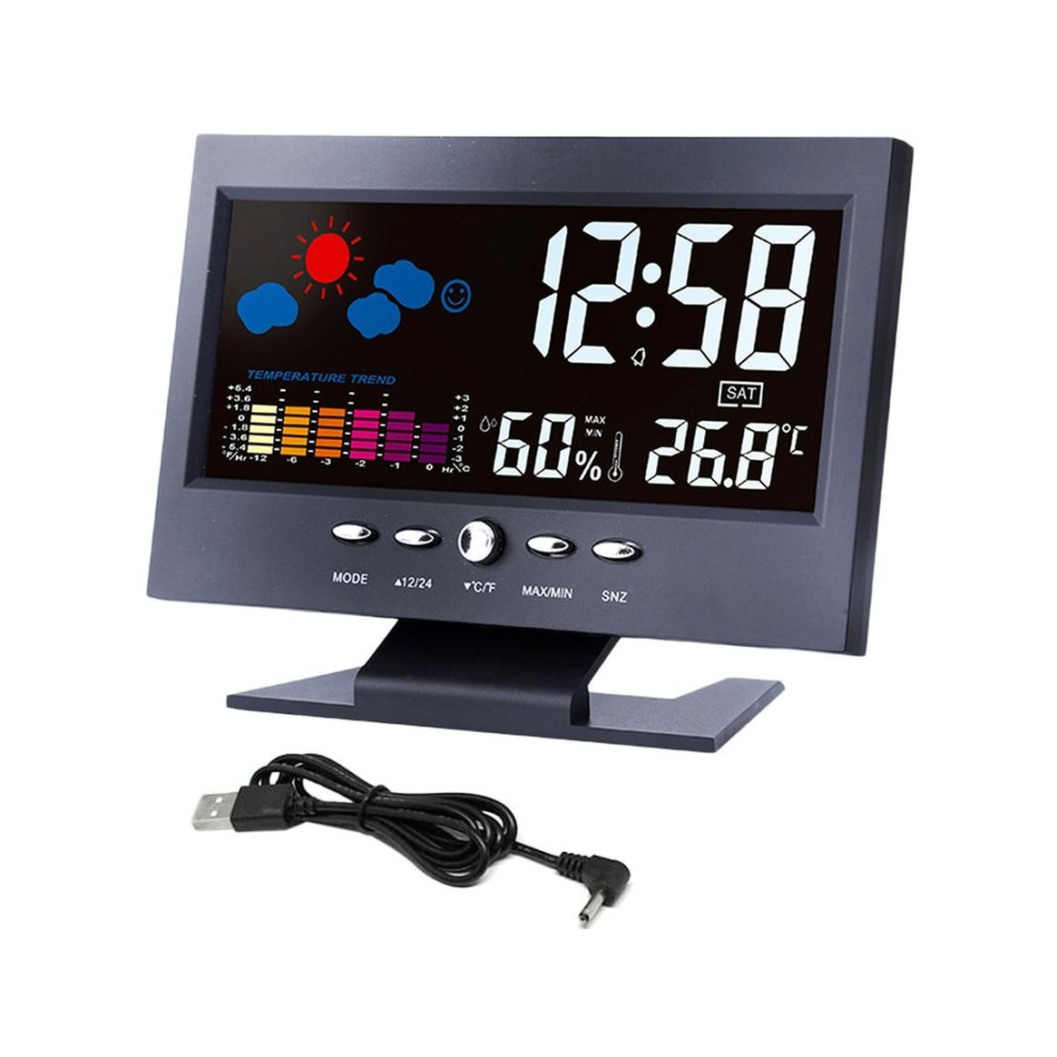 Digital Thermometer Hygrometer Wetterstation Wecker Temperaturanzeige Bunter LCD Kalender Sprachaktiviert Delicacydex