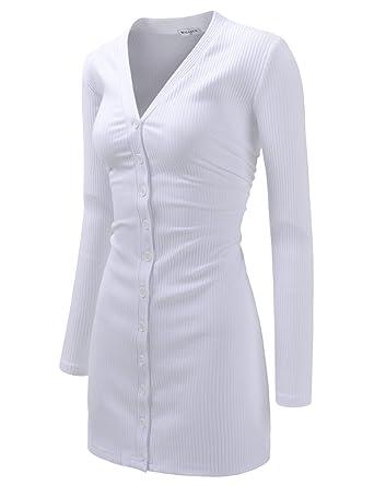 NEARKIN Womens Slim Cut Look Stripe Pattern Button Up Dress Long Cardigan
