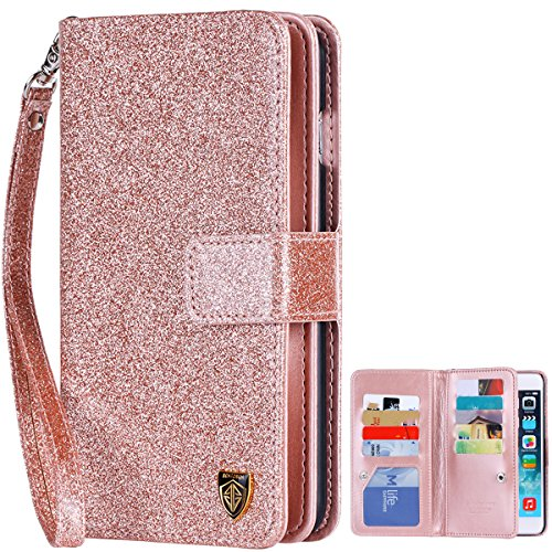 BENTOBEN Glitter Leather Wristlet Magnetic