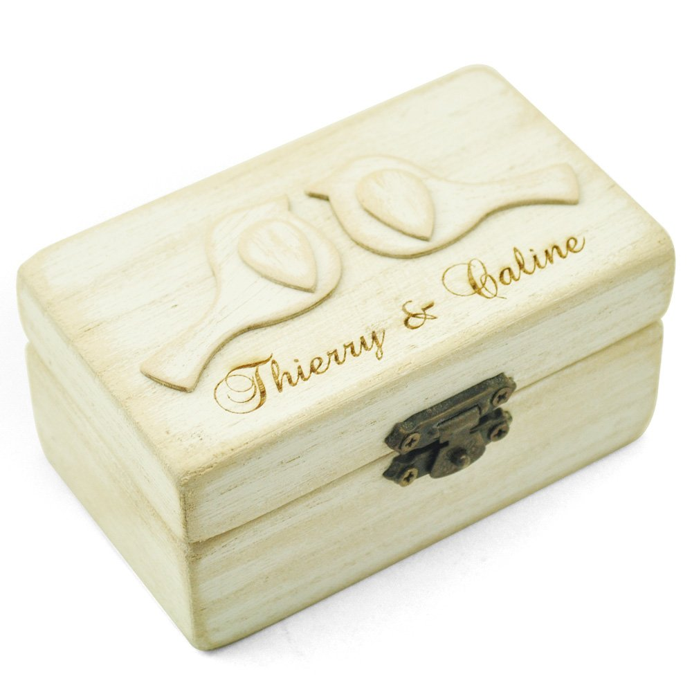 Personalized Wedding Ring Box,Love Bird Ring Bearer Box, Engagement Ring Box,Wooden Rings Holder
