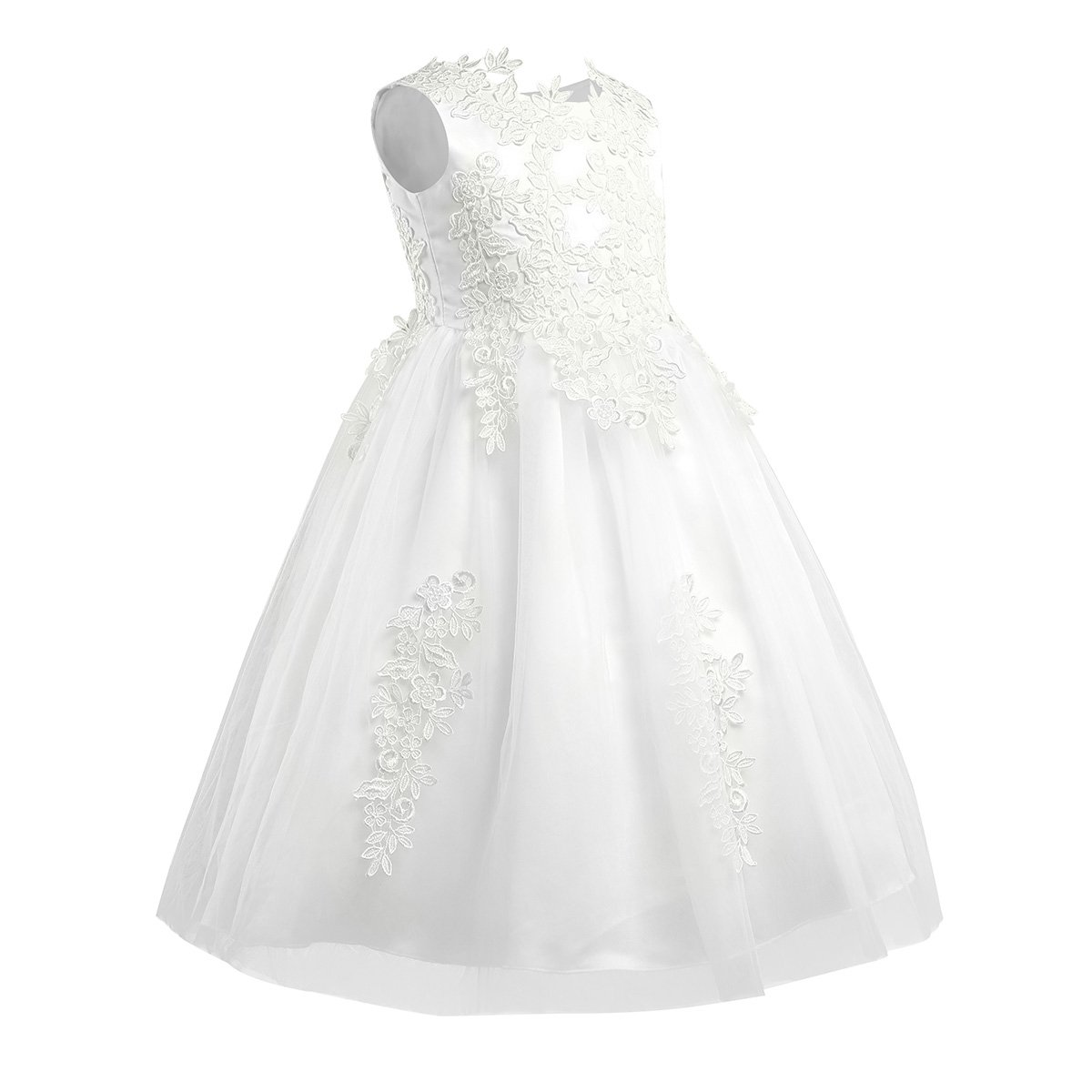 a30a53de7c2 iEFiEL Kids Girls  Princess Floral Lace Embellished Flower Dresses Tulle  Wedding Pageant Bridesmaid Christening Gowns Ivory  Amazon.co.uk  Clothing
