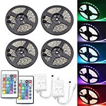 IWISHLIGHTTM 65.6Ft 20M [4Roll] SMD 5050 1200LEDs [4Roll] Water-resistant Flexible RGB Color Changing LED Strip Lighting + 2 X 24Key Remotes