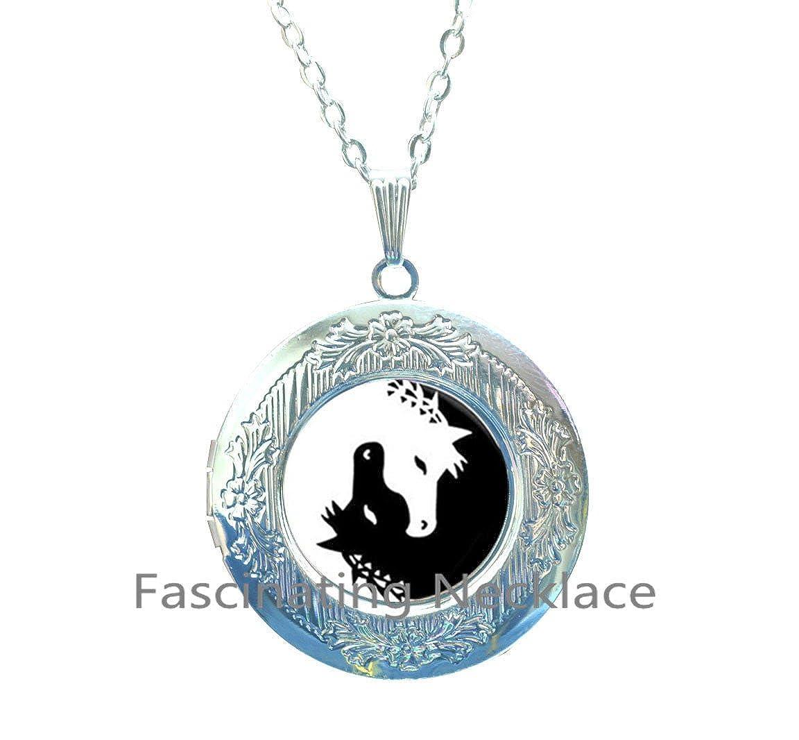 Horse Locket Necklace Jewelry Yin Yang Black and White Animals Art Locket Pendant Glass Photo Charms Photo medallion Locket Pendant Locket Necklace,AQ191