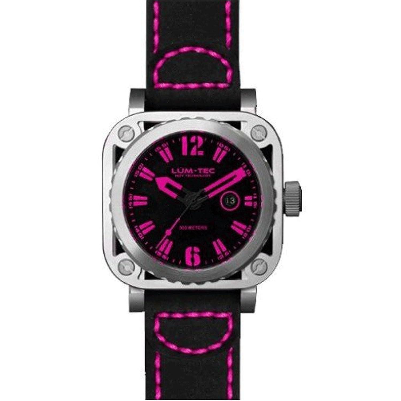 LUM-TEC LTG10 Schwarze Lederriemen-Rosa-Vorwahlknopf-Skeleton Uhr der MÄnner