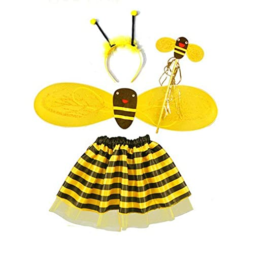 a363cd77b Amazon.com: Girls Kids Bumble Bee Costume Set Bee Wing Fairy Wand Tutu Skirt  Headband Fancy Dress Up Party Costume, 4-Pack: Clothing