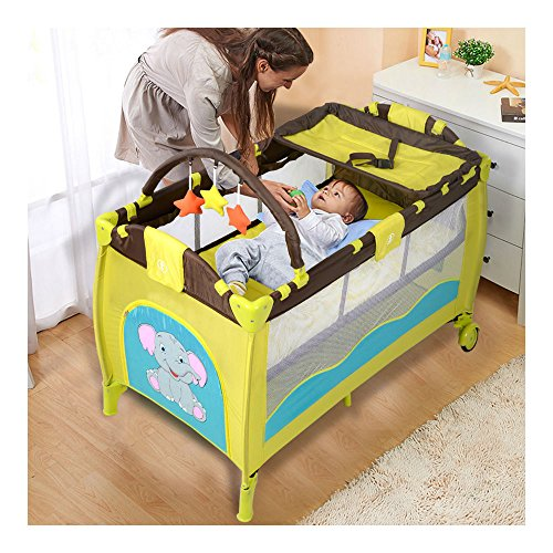 New Green Baby Crib Playpen Playard Pack Travel Infant Bassinet Bed Foldable from Generic