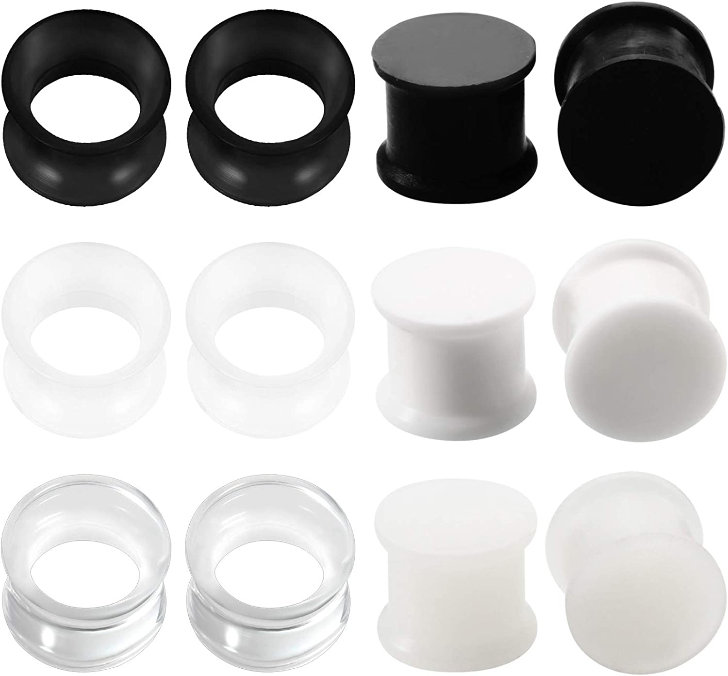 One Pair Double Flare Flexible Silicone Ear Tunnels Plugs Earlets Gauges 2-16mm