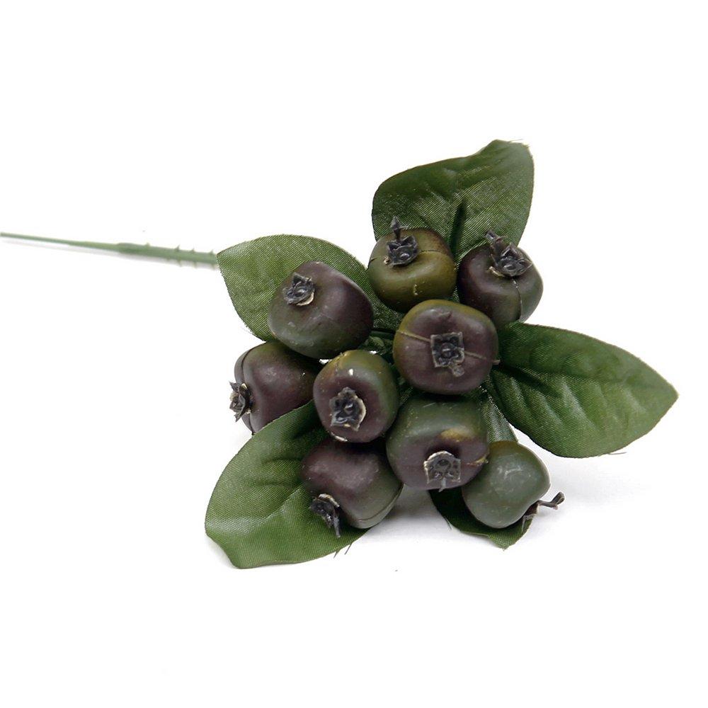 12 x Beeren Pick ca. 6cm, diverse Farben, künstlich, Früchte/ TOP (grün/schwarz) künstlich