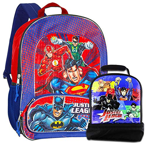 Justice League Backpack with Lunch Box -- Deluxe Backpack with Insulated Lunch Kit (Featuring Batman, Superman, Green Lantern, Flash)]()