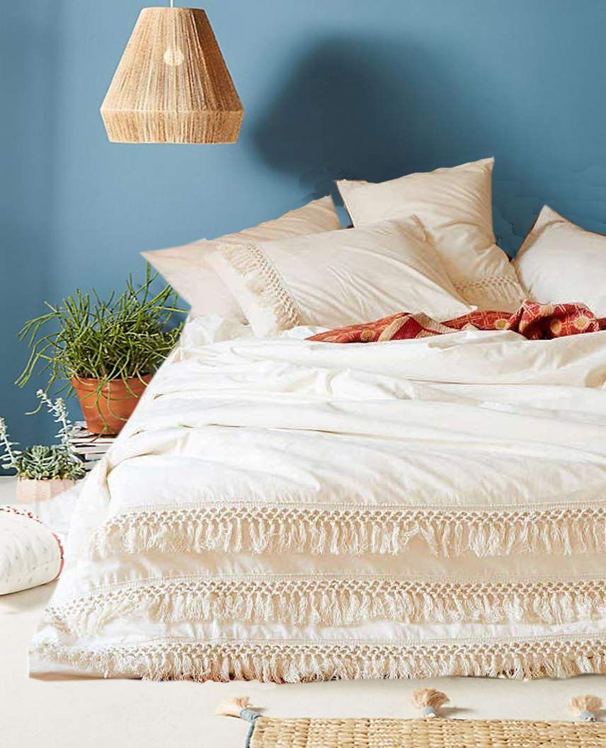 Flber White Cotton Tassel Duvet Cover,King, 96