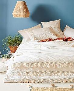 Flber White Cotton Tassel Duvet Cover,Full Queen,86inx90in