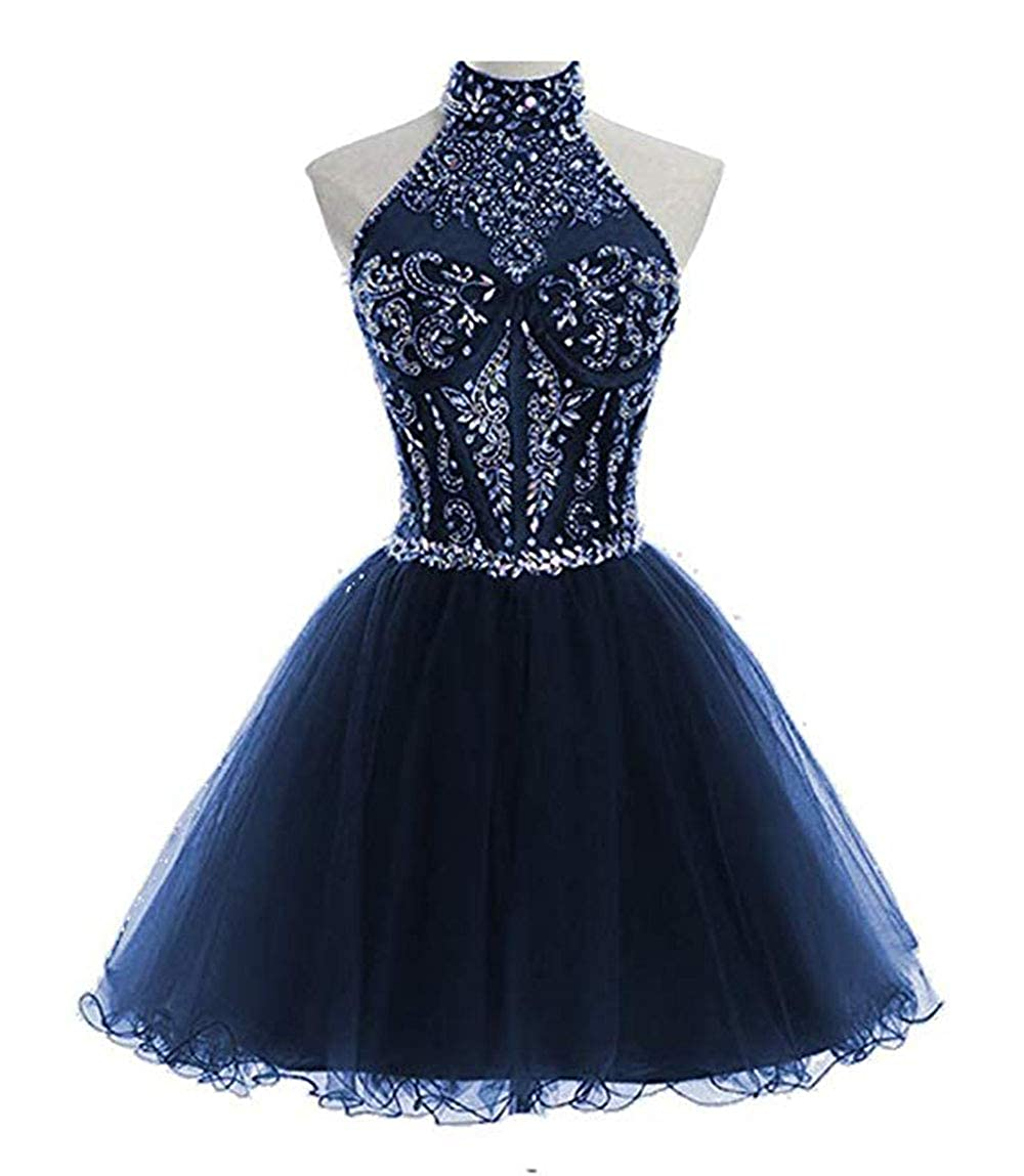 Navy alilith.Z Sexy Halter Beading Crystal Homecoming Dresses for Juniors Short Prom Party Gowns for Women 2018