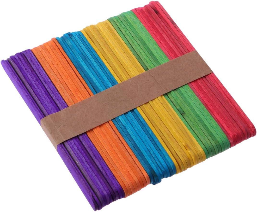 Toyvian palos de colores palo de madera seguro palo de artesan/ía palo de helado material de bricolaje para artesan/ía 500 piezas