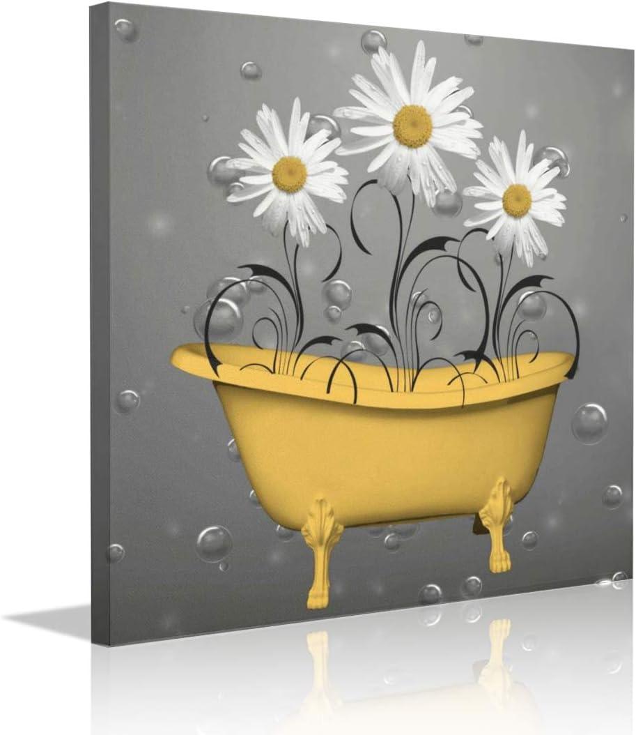 "Yanghl Canvas Wall Art Prints 5""X5"" Yellow Daisy Flowers Gray Bubbles  Bathtub Picture Contemporary Bathroom Decor Vintage Wall Decor for Home"