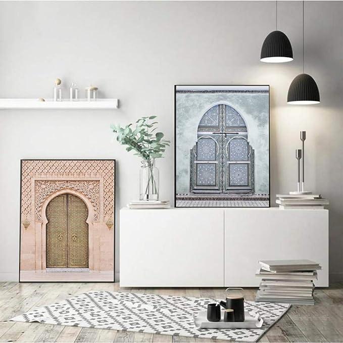 RQJOPE Arte de la Pared Impresiones de la Lona Imágenes Modernas Puerta Antigua Marruecos Puerta Pintura Decoración para el hogar Estilo nórdico Cartel para Sala de estar-16x24inch: Amazon.es: Hogar