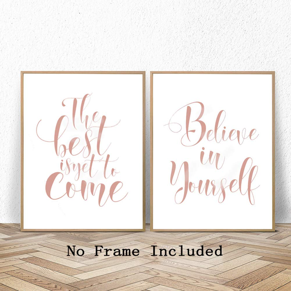Set of Two,8x10 inch,UNFRAMED Fashion Inspiring Gift Boss Lady,You Got This Rose Gold Foil Print,Inspirational Quote Cardstock Art Print Minimalist Poster Wall Art Home Decoration Bedroom Decor