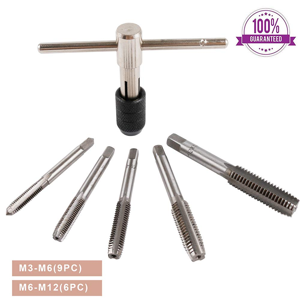 BIDE T-Handle Tap Wrench M6 M7 M8 M10 M12 T Type Tap Wrenches Ratcheting Set 6 PC Thread Metric Tools Screw Plug Tap …