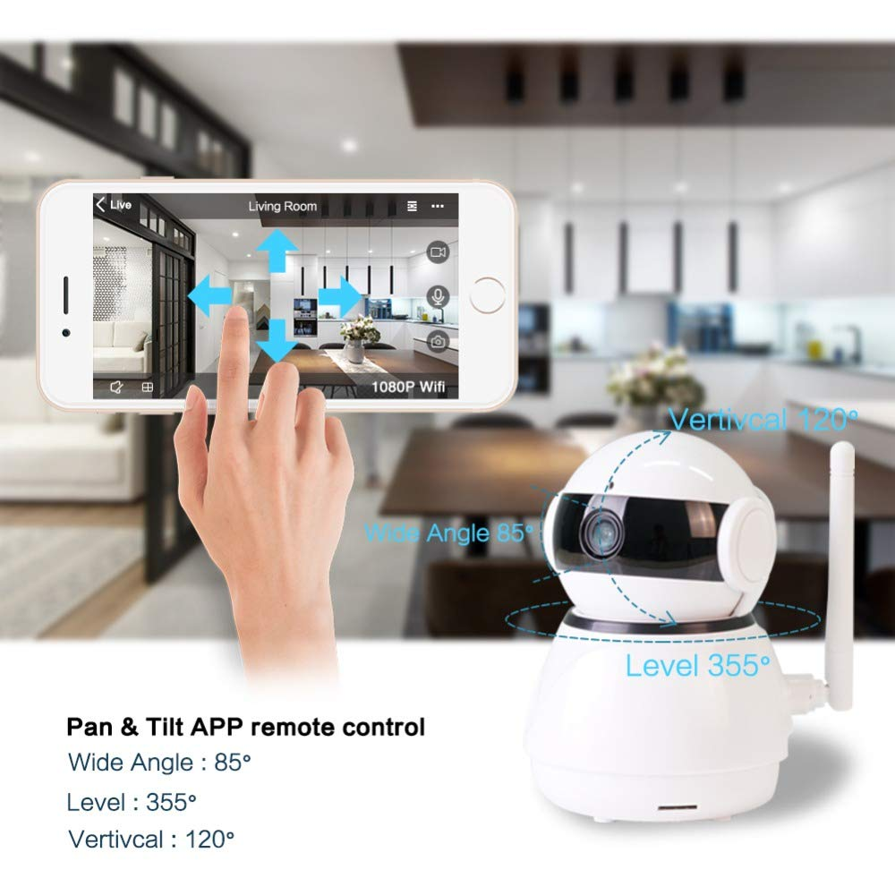 Security Camera Wireless IP Camera 1080P HD WiFi Home Surveillance Video IP Camera with Alexa Echo Pan/Tilt Two -Way Audio Night Vision for Pet Elder Baby Nanny Home Office Monitor by Lstiaq (Image #2)