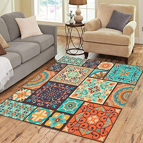 (Semtomn Area Rug 5' X 7' Colorful Patchwork Indian Ottoman Motifs Majolica Pottery Portuguese Home Decor Collection Floor Rugs Carpet for Living Room Bedroom Dining Room)